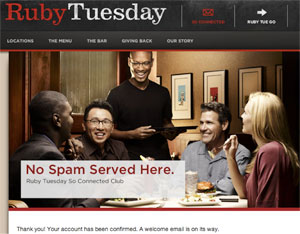 ruby tuesday - Welcome Messages with Wow Factor