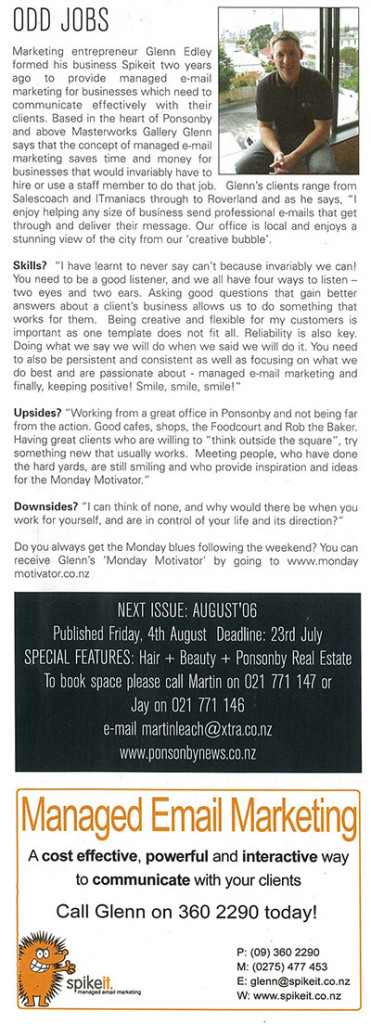 glenn spikeit article small 371x1024 - From the Ponsonby News - Odd jobs: a blast from the past!